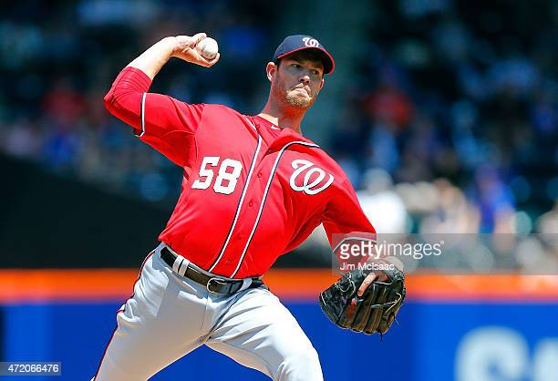 Doug Fister of the Washington Nationals pitches in the first inning against the New York Mets at Citi Field on May 3 2015 in the Flushing...
