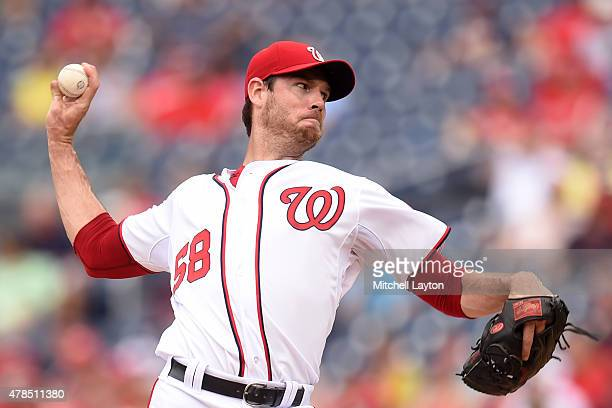 Doug Fister of the Washington Nationals pitches in the first inning during a baseball game against the Atlanta Braves at Nationals Park on June 25...