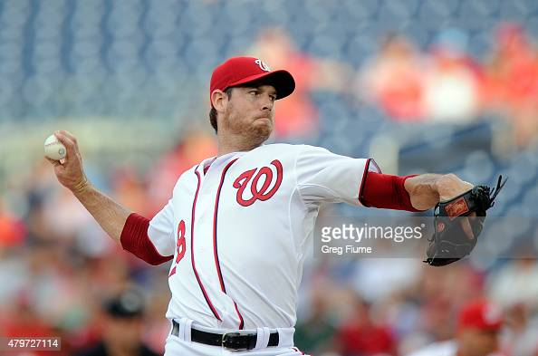 Doug Fister of the Washington Nationals pitches in the first inning against the Cincinnati Reds at Nationals Park on July 6 2015 in Washington DC
