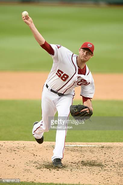 Doug Fister of the Washington Nationals pitches in the forth inning during a baseball game against the Atlanta Braves at Nationals Park on June 25...