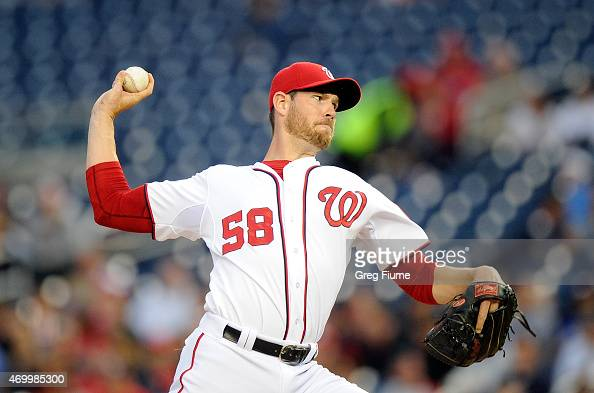 Doug Fister of the Washington Nationals pitches in the second inning against the Philadelphia Phillies at Nationals Park on April 16 2015 in...