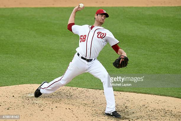 Doug Fister of the Washington Nationals pitches in the sixth inning during a baseball game against the Atlanta Braves at Nationals Park on June 25...