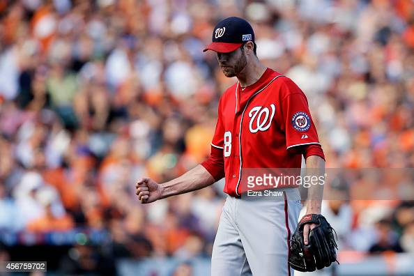 Doug Fister of the Washington Nationals reacts after the final out of the seventh inning against the San Francisco Giants during Game Three of the...