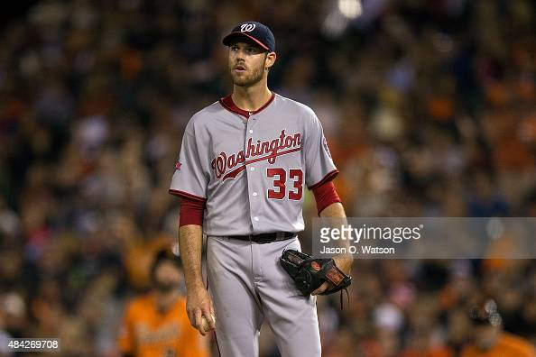 Doug Fister of the Washington Nationals stands on the pitchers mound against the San Francisco Giants during the fourth inning at ATT Park on August...
