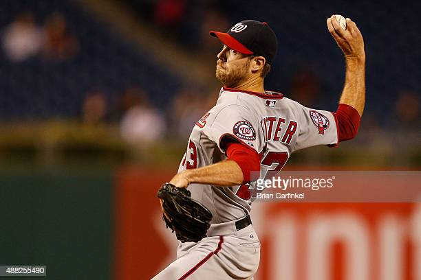Doug Fister of the Washington Nationals throws a pitch in the eleventh inning of the game against the Philadelphia Phillies at Citizens Bank Park on...