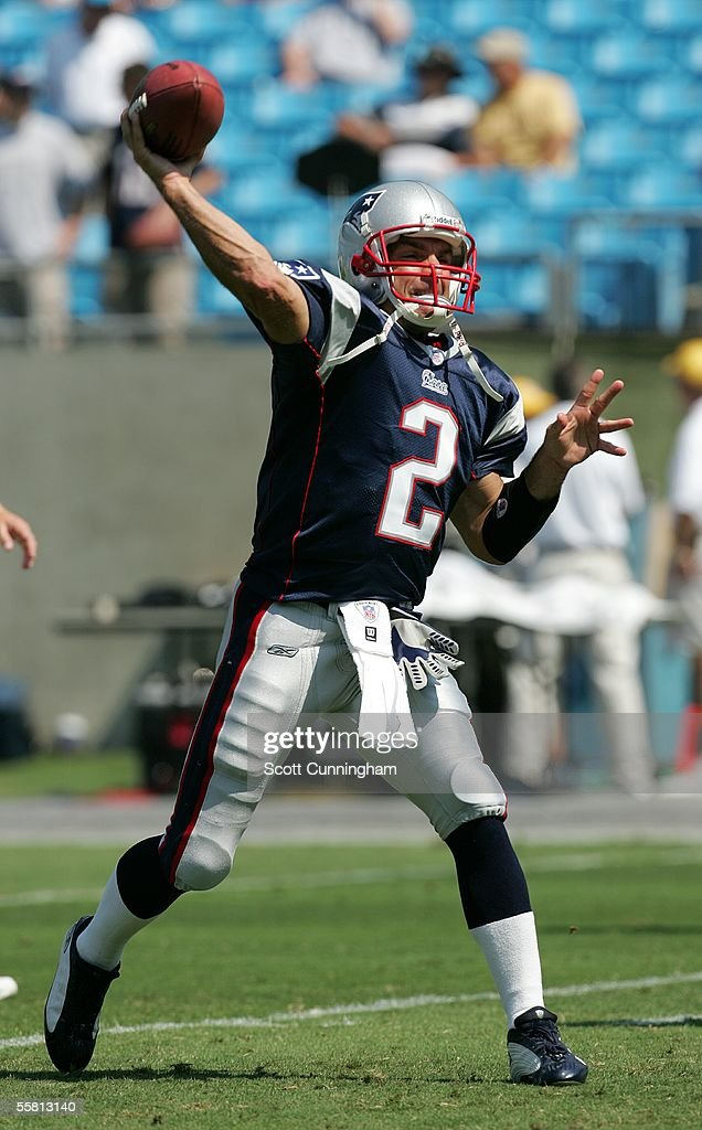 Doug Flutie #2 of the New England Patriots warms up before a game against the Carolina Panthers at Bank of America Stadium on September 18, 2005 in Charlotte, North Carolina. The Panthers defeated the Patriots 27-17.