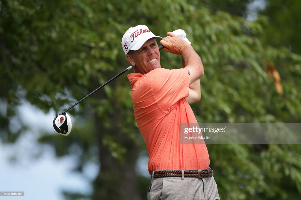 Doug Garwood hits his tee shot on the second hole during the final round of the Champions Tour American Family Insurance Championship at University Ridge Golf Course on June 26, 2016 in Madison, Wisconsin.