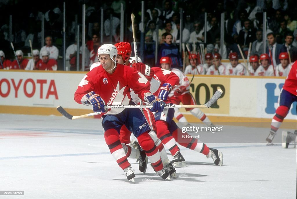 <a gi-track='captionPersonalityLinkClicked' href=/galleries/search?phrase=Doug+Gilmour&family=editorial&specificpeople=210813 ng-click='$event.stopPropagation()'>Doug Gilmour</a> #28 of Team Canada skates on the ice during the 1987 Canada Cup in September, 1987 in Canada.