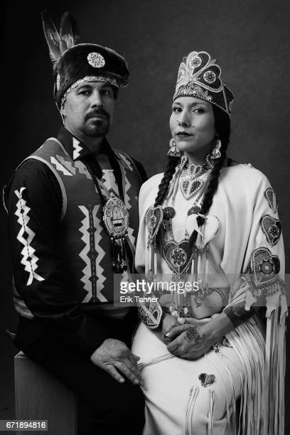 Doug Good Feather and Floris White Bull from 'Awake A Dream From Standing Rock' pose at the 2017 Tribeca Film Festival portrait studio on on April 22...