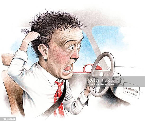 Doug Griswold color illustration of an insanely mad driver pulling out his hair astonished by what he is seeing other drivers do