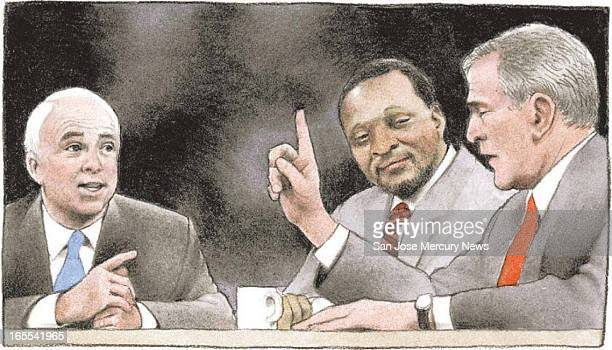Doug Griswold color illustration of John McCain in a primary debate with Alan Keyes center and George W Bush during the 2000 presidential campaign...