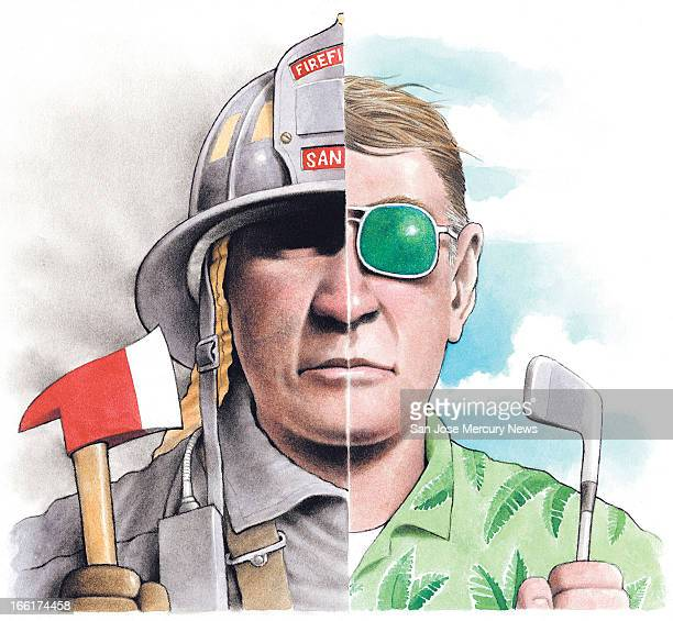 Doug Griswold color illustration of twofaced man one side is firefighter the other side is a retiree Can be used with stories about public employees...