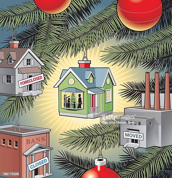 Doug Griswold illustration of Christmas tree ornaments one a foreclosed house one a foreclosed bank one a moved factory and the last being a happy...