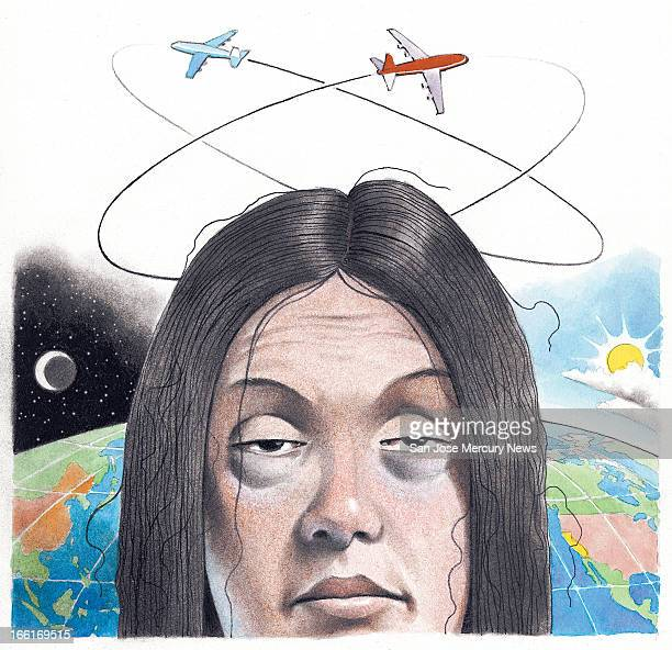 Doug Griswold illustration of man suffering jet lag
