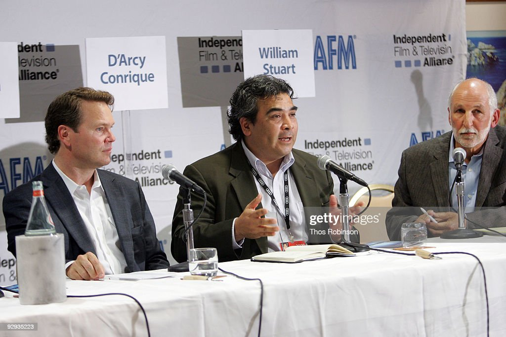 Doug Hansen, D'Arey Conrique, and William Stuart attend the 2009 American Film Market - Day 6, Case Study: How to Package and Finance Your Independent Project Overseas at the Le Merigot Hotel on November 9, 2009 in Santa Monica, California.