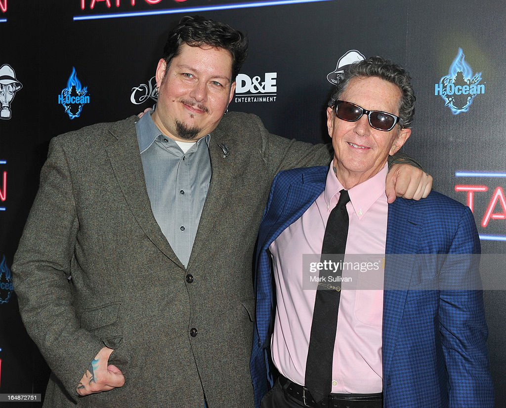 Doug Hardy (L) and Ed Hardy attend the premiere of 'Tattoo Nation' at ArcLight Cinemas on March 28, 2013 in Hollywood, California.