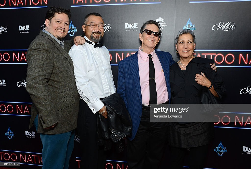 Doug Hardy, Yoshi, Ed Hardy and Francesca Passalacqua arrive at the premiere of 'Tattoo Nation' at ArcLight Cinemas on March 28, 2013 in Hollywood, California.