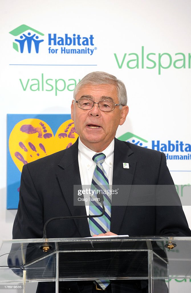 Doug Harper speaks as he attends the Valspar Hearts and Hands for Habitat unveiling at Bath House Studios on August 19, 2013 in New York City.