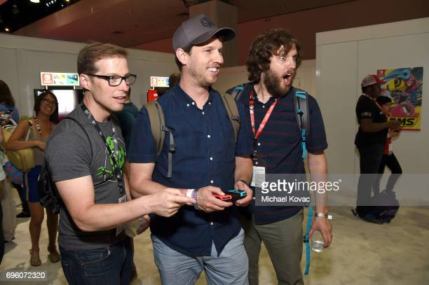 Doug Heder Jon Heder and Dan Heder visit the Nintendo booth at the 2017 E3 Gaming Convention at Los Angeles Convention Center on June 14 2017 in Los...