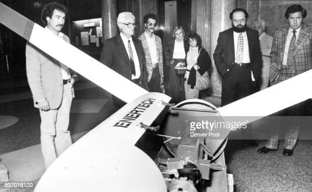 Doug Hendrixson Ted Hackworth John Silchia William Scheiter from left examine Generator The machine was brought to zoning meeting by McGee...