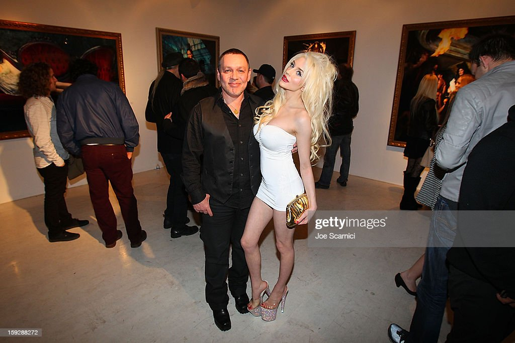 Doug Hutchinson and Courtney Stodden attend Markus + Indrani Icons book launch party hosted by Carmen Electra benefiting The Trevor Project at Merry Karnowsky Gallery & Graffiti on January 10, 2013 in Los Angeles, California.
