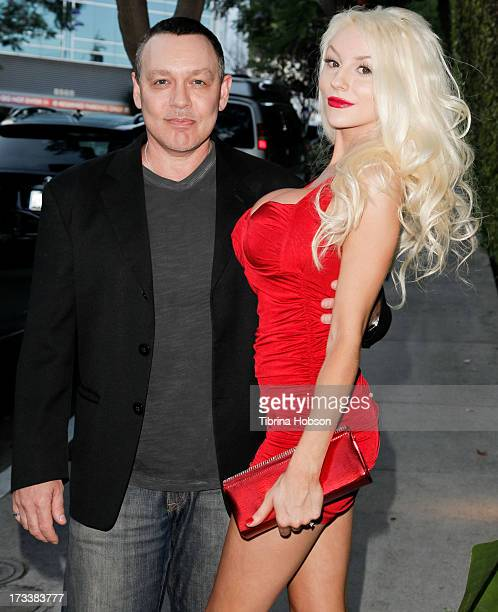 Doug Hutchison and Courtney Stodden attend the 'Dave Stewart Jumpin' Jack Flash The Suicide Blonde' photo exhibition at Morrison Hotel Gallery on...
