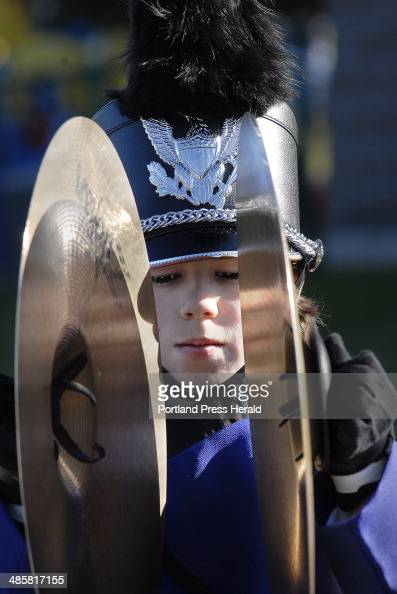 Saturday November 2008 Marshwood's Mark Dunivin an eighth grader plays cymbals during the finals of the state marching band competition hosted by...