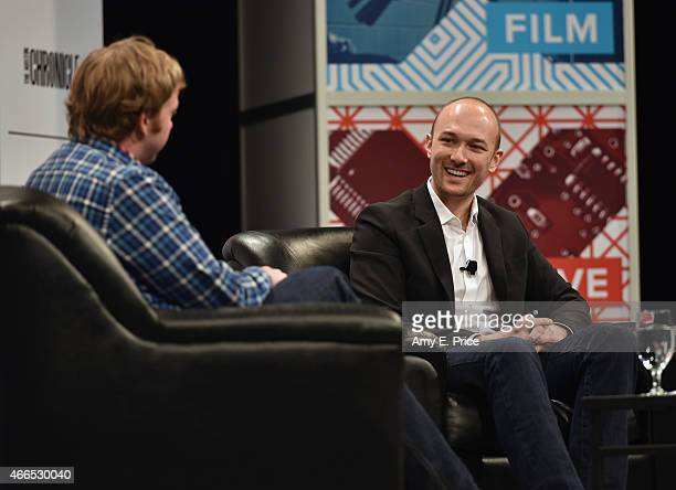 Doug MacMillan Reporter for The Wall Street Journal and Logan Green CEO CoFounder of Lyft speak onstage at 'Fixing Transportation With Humanity And...