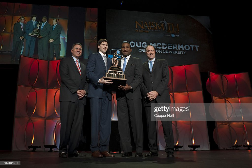 <a gi-track='captionPersonalityLinkClicked' href=/galleries/search?phrase=Doug+McDermott&family=editorial&specificpeople=7544468 ng-click='$event.stopPropagation()'>Doug McDermott</a> of Creighton University poses after winning the 2014 Men's Naismith Trophy during the AT&T NABC Guardians of the Game Awards Show at the Music Hall at Fair Park on April 6, 2014 in Dallas, Texas.