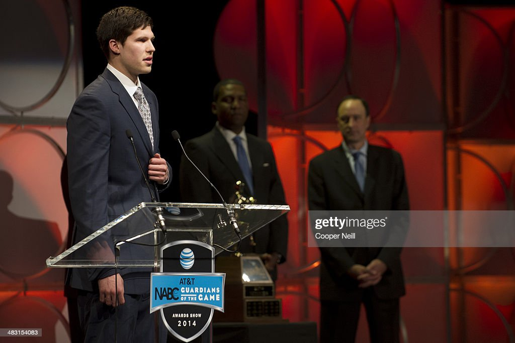 <a gi-track='captionPersonalityLinkClicked' href=/galleries/search?phrase=Doug+McDermott&family=editorial&specificpeople=7544468 ng-click='$event.stopPropagation()'>Doug McDermott</a> of Creighton University speaks after winning the 2014 Men's Naismith Trophy during the AT&T NABC Guardians of the Game Awards Show at the Music Hall at Fair Park on April 6, 2014 in Dallas, Texas.