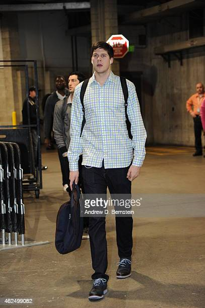 Doug McDermott of the Chicago Bulls arrives at the arena before a game against the Los Angeles Lakers at STAPLES Center on January 29 2015 in Los...