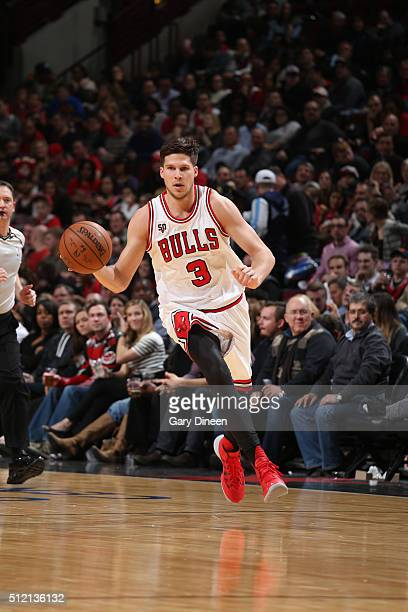 Doug McDermott of the Chicago Bulls drives to the basket against the Washington Wizards during the game on February 24 2016 at United Center in...