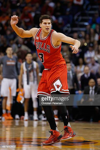 Doug McDermott of the Chicago Bulls during the NBA game against the Phoenix Suns at Talking Stick Resort Arena on November 18 2015 in Phoenix Arizona...