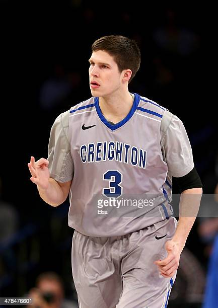 Doug McDermott of the Creighton Bluejays celebrates one of his three point shots in the first half against the DePaul Blue Demons during the...