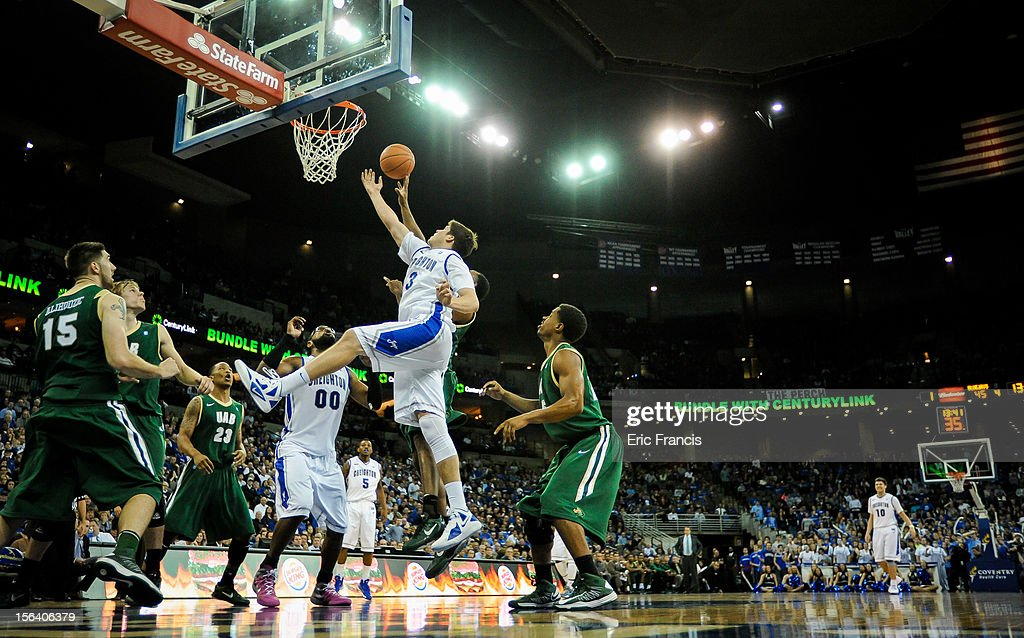 Doug McDermott #3 of the Creighton Bluejays fights for a rebound during their game against UAB Blazers at CenturyLink Center on November 14, 2012 in Omaha, Nebraska.