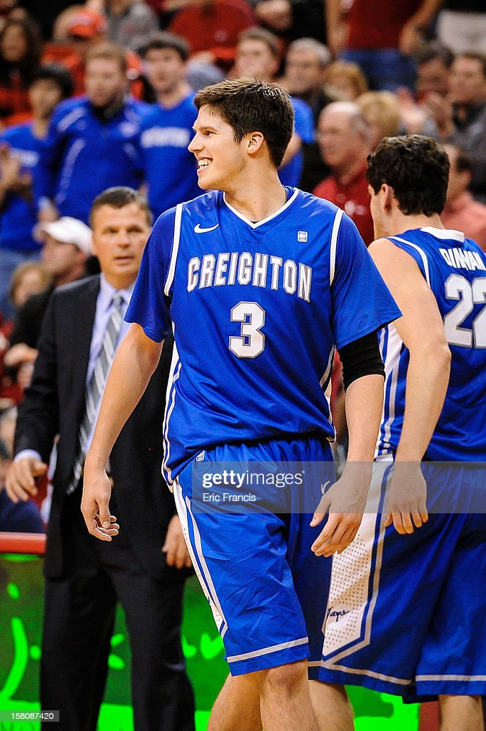 Doug McDermott #3 of the Creighton Bluejays reacts during their game against the Nebraska Cornhuskers at the Devaney Center on December 6, 2012 in Lincoln, Nebraska. Creighton defeated Nebraska 64-42.