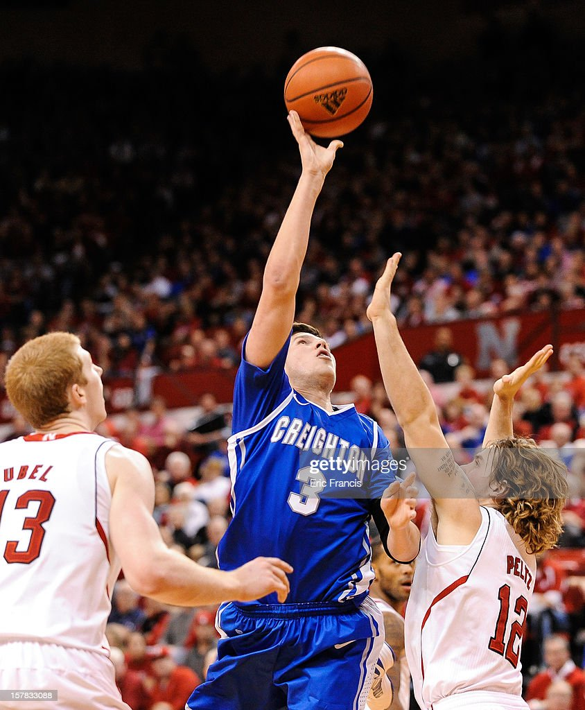 Doug McDermott #3 of the Creighton Bluejays shoots over Mike Peltz #12 of the Nebraska Cornhuskers during their game at the Devaney Center on December 6, 2012 in Lincoln, Nebraska. Creighton defeated Nebraska 64-42.