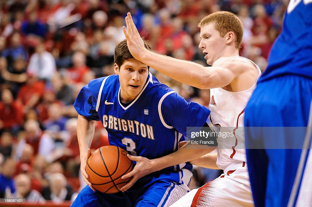 Doug McDermott #3 of the Creighton Bluejays works against Brandon Ubel #13 of the Nebraska Cornhuskers during their game at the Devaney Center on December 6, 2012 in Lincoln, Nebraska. Creighton defeated Nebraska 64-42.