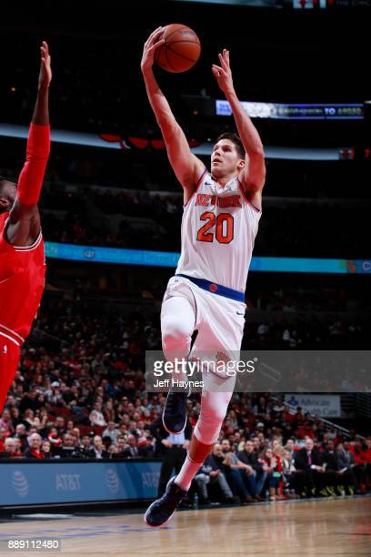 Doug McDermott of the New York Knicks shoots the ball against the Chicago Bulls on December 9 2017 at the United Center in Chicago Illinois NOTE TO...