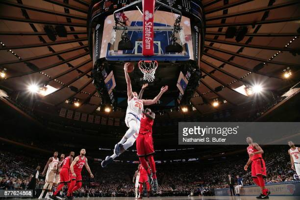 Doug McDermott of the New York Knicks shoots the ball during the game against the Toronto Raptors on November 22 2017 at Madison Square Garden in New...