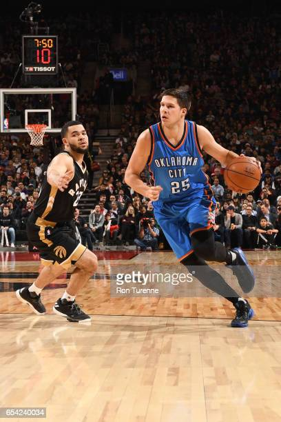 Doug McDermott of the Oklahoma City Thunder handles the ball during a game against the Toronto Raptors on March 16 2017 at the Air Canada Centre in...
