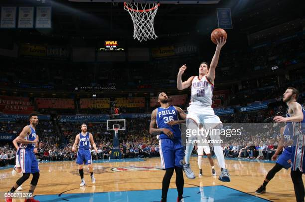 Doug McDermott of the Oklahoma City Thunder shoots a lay up against the Philadelphia 76ers during the game on March 22 2017 at Chesapeake Energy...