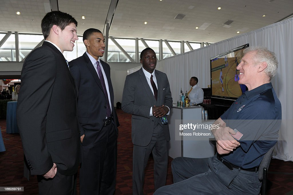 Doug McDermott, Otto Porter Jr, Victor Oladipo and former NBA player Bill Walton attend the 2013 Naismith Trophy at the NABC Guardians of the Game Awarding of the Naismith Trophy Presented by AT&T at Georgia World Congress Center on April 7, 2013 in Atlanta, Georgia.