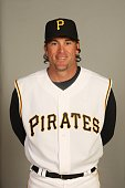 Doug Mientkiewicz of the Pittsburgh Pirates poses for a portrait during photo day at McKechnie Field on February 24 2008 in Bradenton Florida