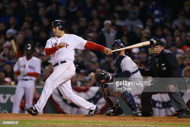 Doug Mirabelli of the Boston Red Sox bats against the New York Yankees during the game on April 16 2004 at Fenway Park in Boston Massachusetts The...