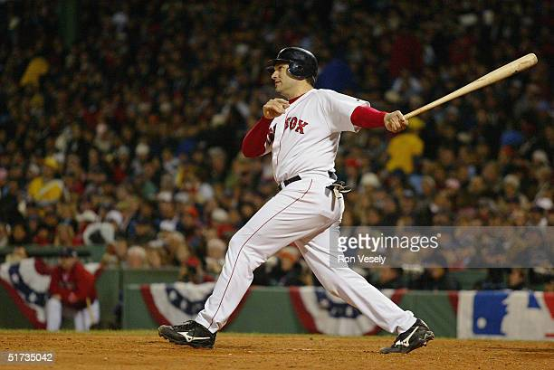 Doug Mirabelli of the Boston Red Sox bats during game one of the 2004 World Series against the St Louis Cardinals at Fenway Park on October 23 2004...