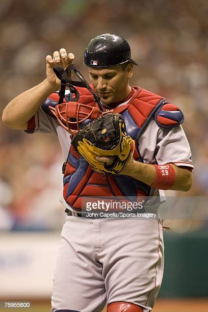 Doug Mirabelli of the Boston Red Sox during a game against the Tampa Bay Devil Rays on July 29 2007 in Tampa Florida