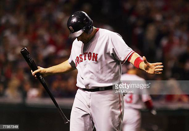 Doug Mirabelli of the Boston Red Sox reacts after striking out in the fifth inning against the Cleveland Indians during Game Four of the American...