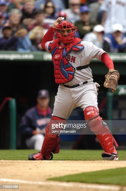 Doug Mirabelli of the Boston Red Sox throws during the game against the Texas Rangers at Rangers Ballpark in Arlington in Arlington Texas on April 6...