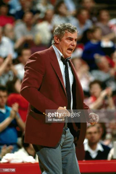Doug Moe head coach of the Denver Nuggets shows emotion during an NBA game in Denver Colorado NOTE TO USER User expressly acknowledges and agrees...